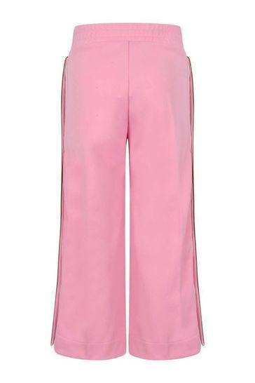 걸스 핑크 로고 트림 팬츠