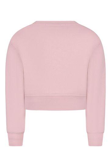 걸스 핑크 코튼 크롭 레오파드 로고 스웨트셔츠