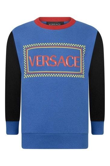 보이즈 블루 코튼 로고 스웨터