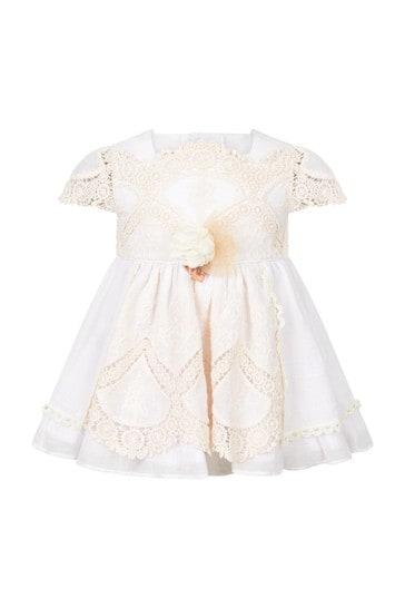 Baby Girls Cream Cotton Romper Set