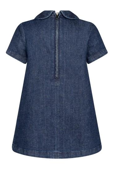Baby Girls Blue Denim Embroidered Dress