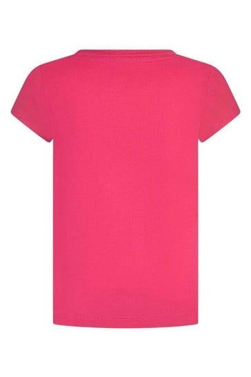Girls Pink Cotton Batwing Logo T-Shirt