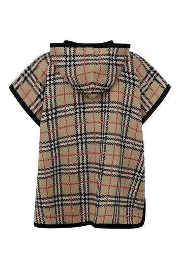 Girls Beige Vintage Check Wool Poncho