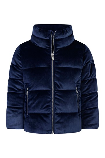 Girls Navy Velour Jacket