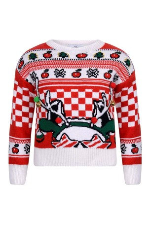 Girls Red And Ivory Knitted Reindeer Sweater