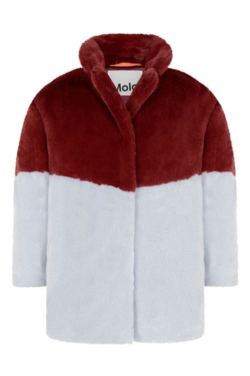 Molo Girls Red And Blue Faux Fur Coat, Red Faux Fur Coat Uk
