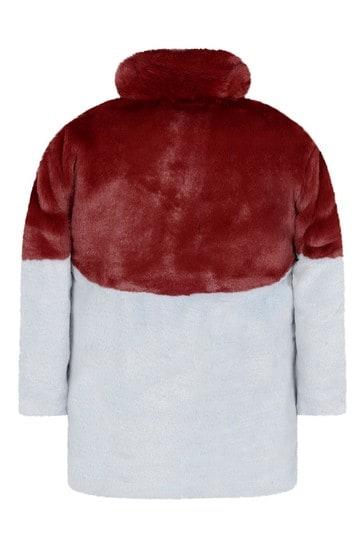 여자 빨강 과 블루 인조 모피 코트