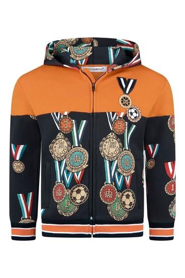 Boys Black/Navy Cotton Medals Print Zip Up Top