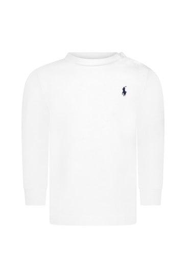 베이비 보이즈 화이트 저지 롱 슬리브 티셔츠