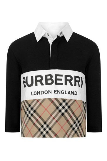 Boys Black Cotton Poloshirt