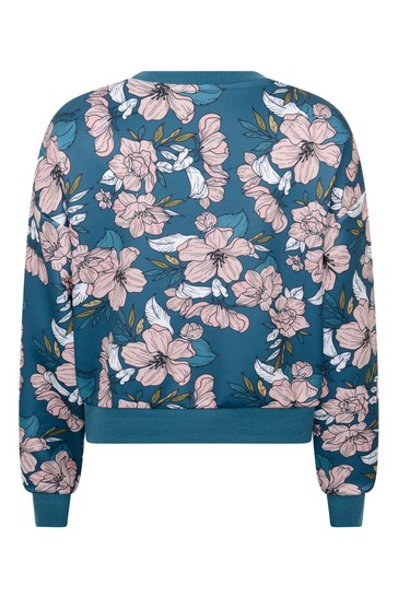 Girls White & Blue Floral Sweater