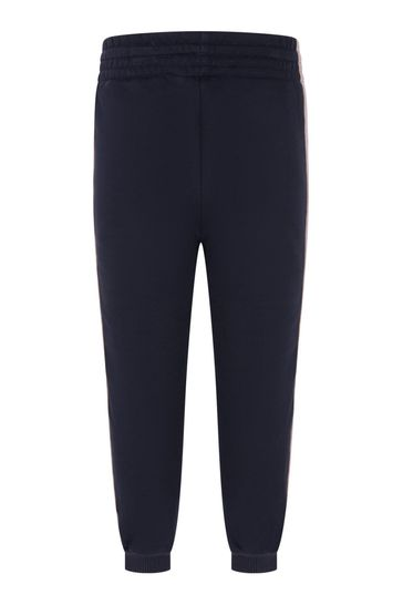 Girls Navy Cotton Brushed Fleece Trousers