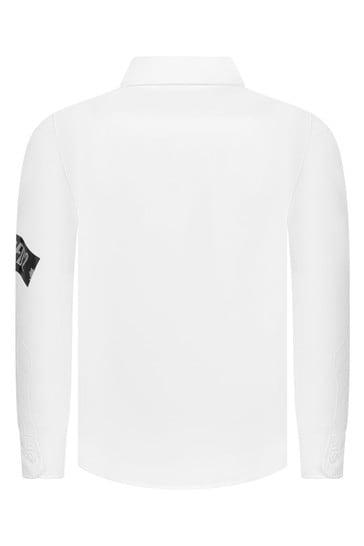 Boys White Cotton Logo Print Shirt