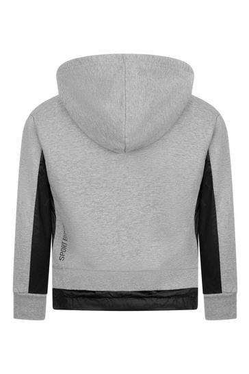 Kids Grey Cotton Logo Zip Up Top