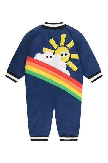 Baby Boys Navy Satin Rainbow Snowsuit