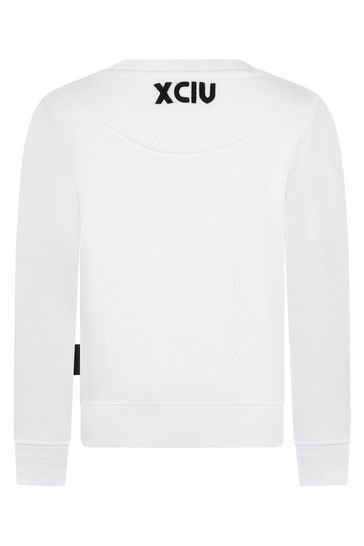Kids White Cotton Sweatshirt