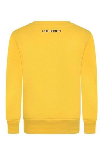 Boys Yellow Cotton Logo Print Sweatshirt
