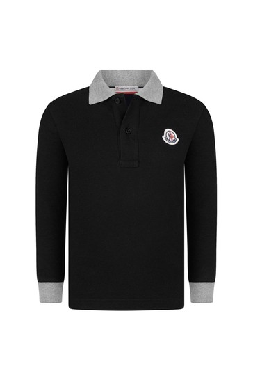 Boys Black Cotton Long Sleeve Polo Top