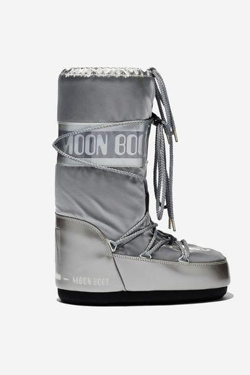 Girls Silver Vinyl Snow Boots