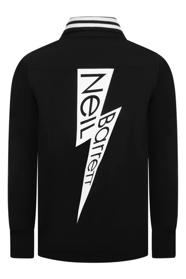 Boys Black Cotton Logo Shirt