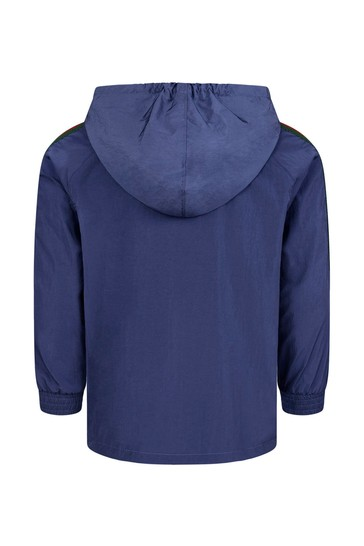 Boys Blue Technical Jersey Hooded Bomber Jacket