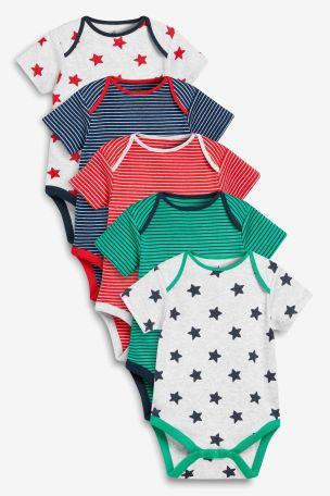Multi 5 Pack Stripe And Star Short Sleeve Bodysuits (0mths-3yrs)