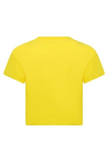 Girls Yellow Cotton T-Shirt
