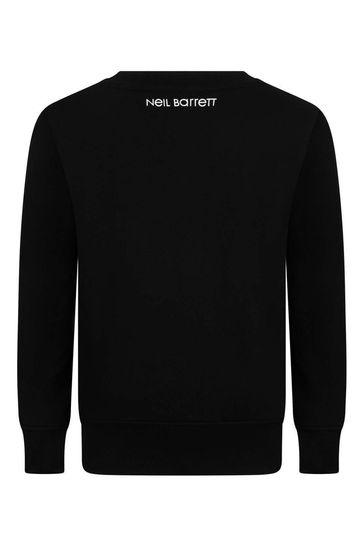 보이즈 블랙 코튼 도쿄 프린트 스웨트셔츠