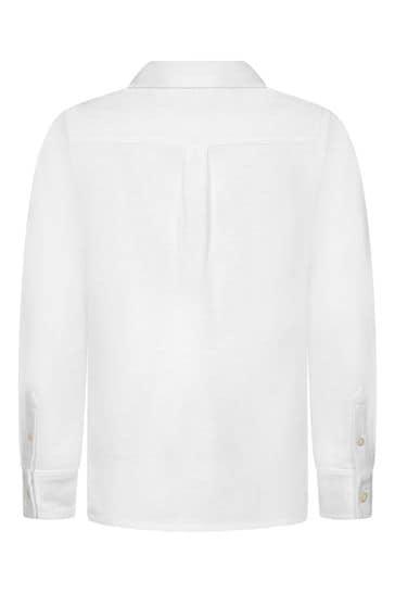 Boys White Cotton Pique Oxford Shirt