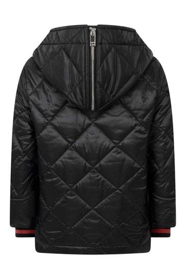 Boys Black Quilted Logo Jacket
