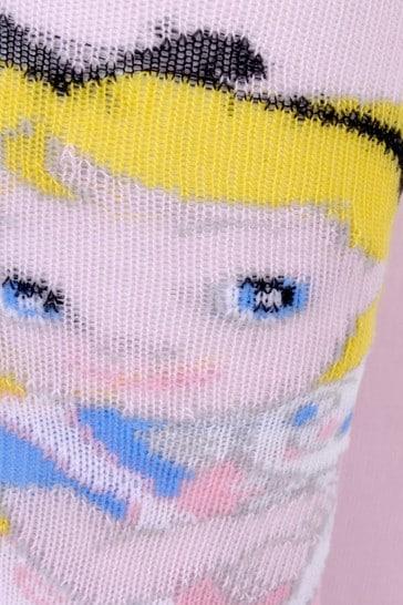 Girls Pink Cotton Alice In Wonderland Tights
