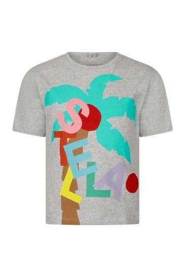 Girls Grey Cotton T-Shirt