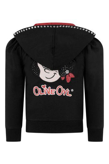 Girls Black Olive Oyl Cotton Zip Up Top