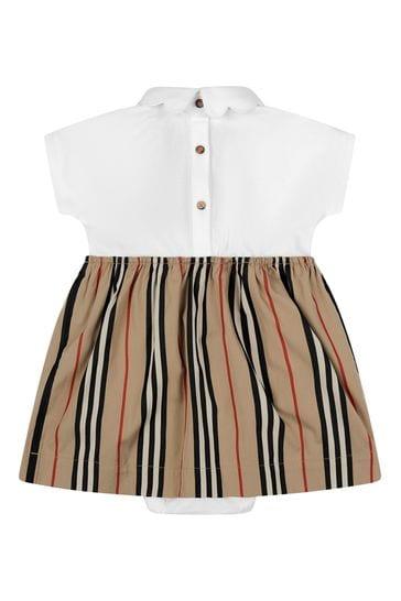 Baby Girls White & Icon Stripe Cotton Dress