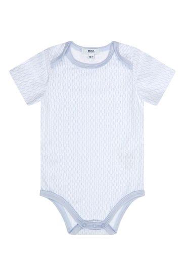 Baby Boys Blue Cotton Bodysuit