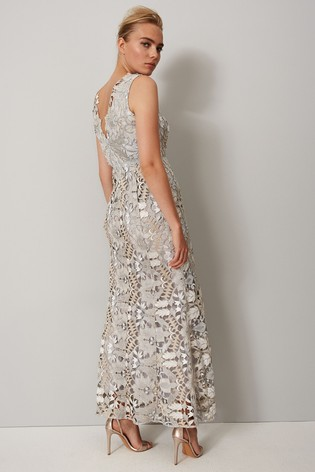 Phase Eight Grey Zoey Lace Maxi Dress
