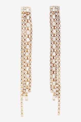 Mint Velvet Sparkle Drop Tassel Earrings
