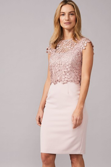 Phase Eight Pink Mariposa Double Layered Dress