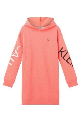 Calvin Klein Pink Hero Logo Hoody Dress
