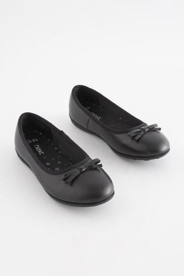 Black Wide Fit (G) Leather Ballet Shoes
