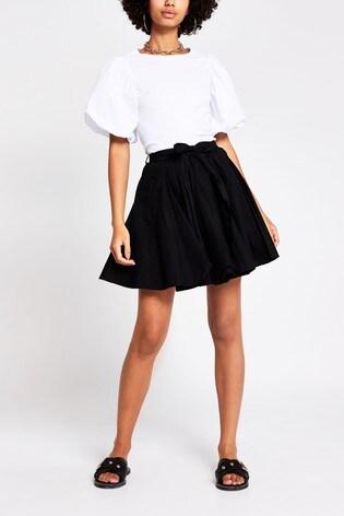 River Island Black Full Hem Mini Skirt