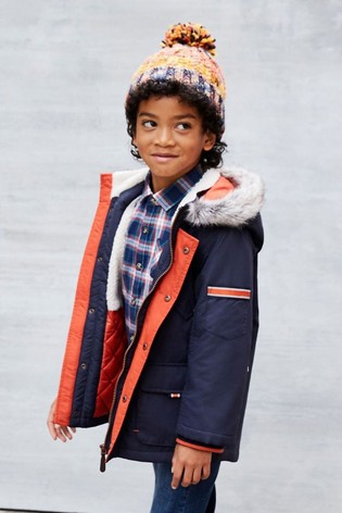 Monsoon Blue Boys Parka Coat With Hood