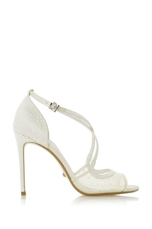 Dune London Markles Ivory Synthetic Cross Strap Sandals