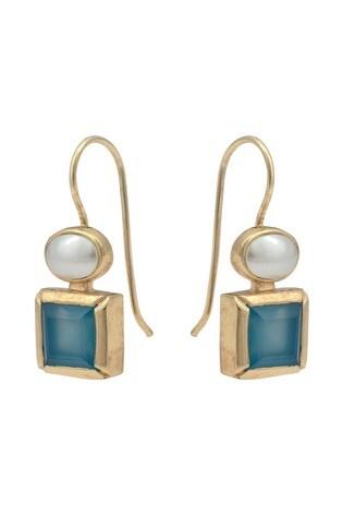 Oliver Bonas Blue Malva Pearl & Stone Drop Earrings