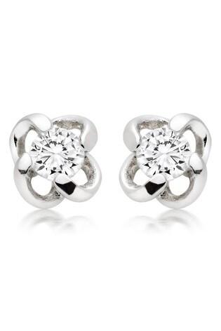 Beaverbrooks Silver Cubic Zirconia Twist Stud Earrings