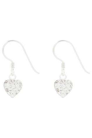 Accessorize Clear St Pave Heart Short Drop Earrings