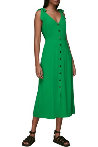 Whistles Green Floral Tie Wasit Midi Dress