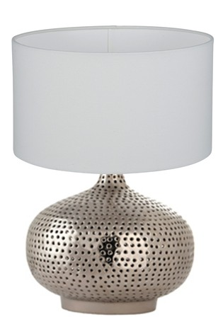 Casablanca Nickel Punched Metal Table Lamp by Pacific