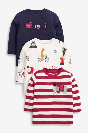 Navy/White London 3 Pack Long Sleeve Character T-Shirts (3mths-7yrs)