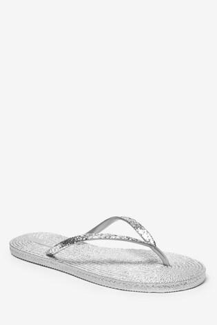Silver Texture Flip Flops